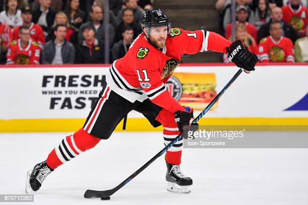 Chicago Blackhawks defenseman Cody Franson passes the puck during the game between the Montreal Canadiens and the Chicago Blackhawks on November 5...