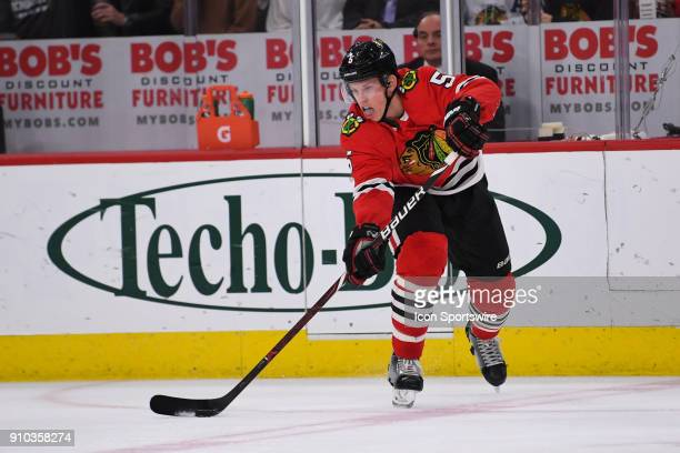 Chicago Blackhawks defenseman Connor Murphy controls the puck during a game between the Chicago Blackhawks and the Tampa Bay Lightning on January 22...