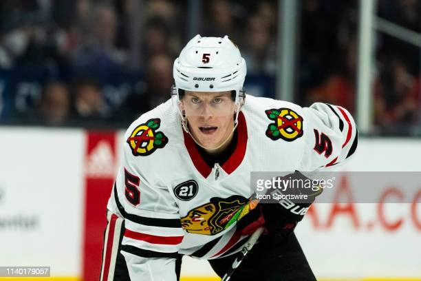 Chicago Blackhawks defenseman Connor Murphy during the NHL regular season hockey game against the Los Angeles Kings on Saturday March 30 2019 at the...