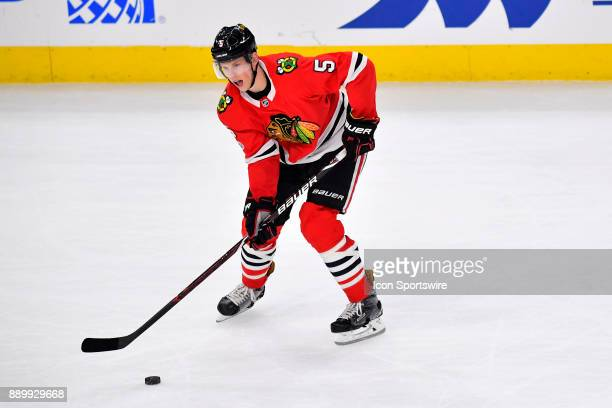 Chicago Blackhawks defenseman Connor Murphy looks to pass the puck during the game between the Chicago Blackhawks and the Arizona Coyotes on December...