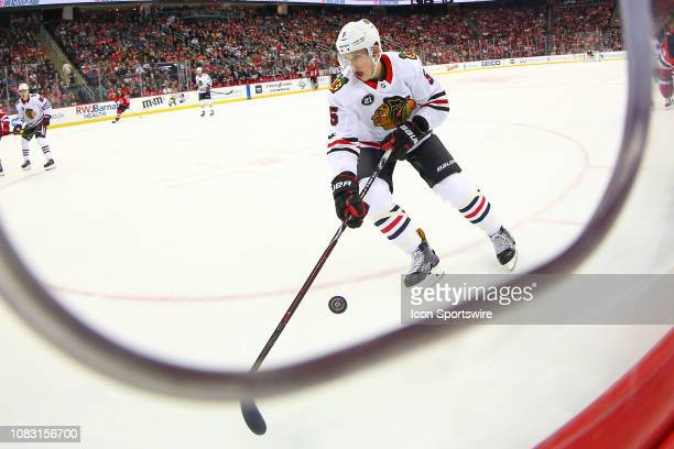 Chicago Blackhawks defenseman Connor Murphy skates during the National Hockey League game between the New Jersey Devils and the Chicago Blackhawks on...