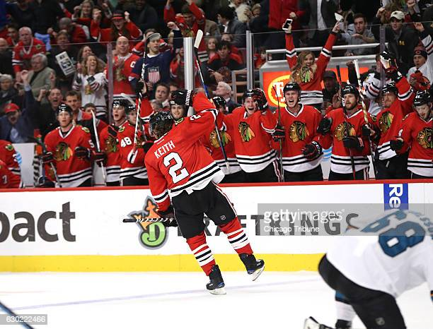 Chicago Blackhawks defenseman Duncan Keith celebrates after his goal against the San Jose Sharks during the second period on Sunday Dec 18 2016 at...