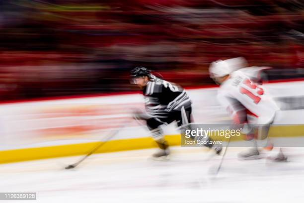 Chicago Blackhawks defenseman Duncan Keith controls the puck during a game between the Ottawa Senators and the Chicago Blackhawks on February 18 at...