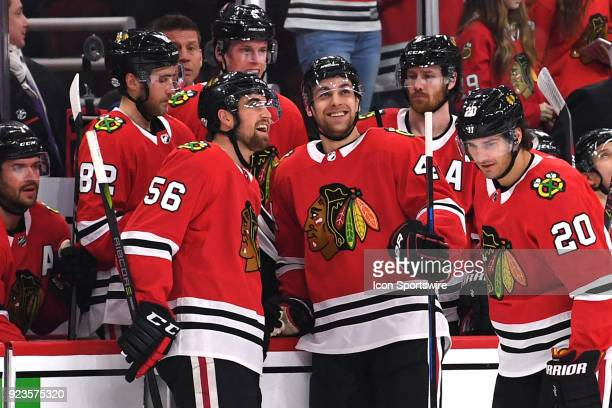 Chicago Blackhawks defenseman Jan Rutta smiles after scoring a goal next to Chicago Blackhawks defenseman Erik Gustafsson in the second period during...