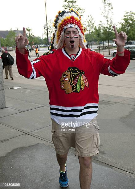 Chicago Blackhawks fan supports his team by wearing a feather headdress at Game Two of the 2010 Stanley Cup Finals between the Philadelphia Flyers...