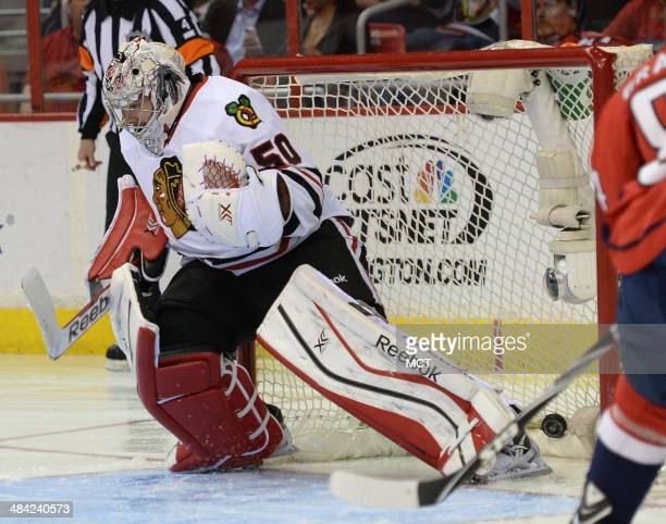Chicago Blackhawks goalie Corey Crawford gets beat for a goal on a shot by Washington Capitals center Nicklas Backstrom, not pictured, in the second...