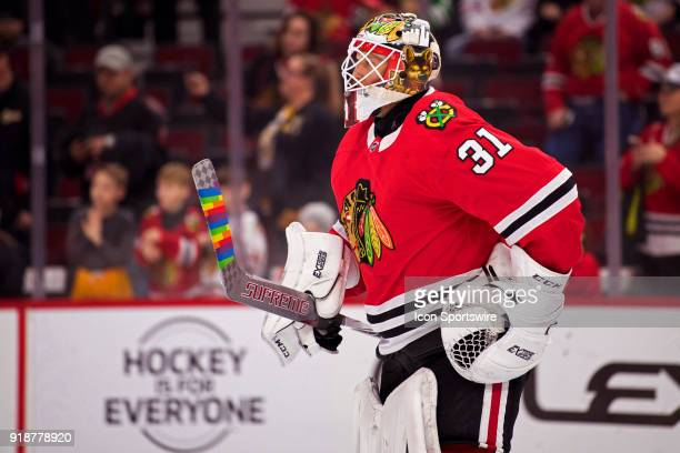 Chicago Blackhawks goaltender Anton Forsberg warms up prior to a game between the Chicago Blackhawks and the Anaheim Ducks on February 15 at the...