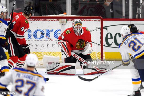 Chicago Blackhawks goaltender JF Berube blocks a shot from St Louis Blues center Patrik Berglund in the second period of play during a game between...