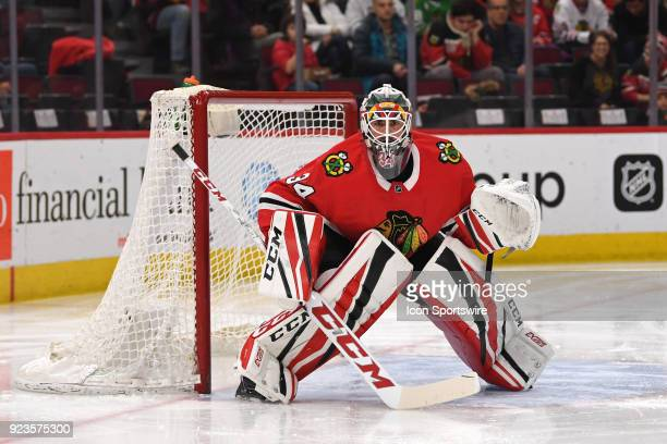 Chicago Blackhawks goaltender JF Berube defends the goal in the second period during a game between the Chicago Blackhawks and the San Jose Sharks on...