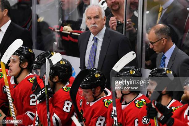 Chicago Blackhawks head coach Joel Quenneville looks on in the 3rd period of game action during an NHL game between the Chicago Blackhawks and the...