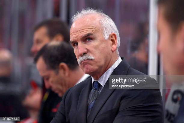 Chicago Blackhawks head coach Joel Quenneville looks on in the third period of play during a game between the Chicago Blackhawks and the Los Angeles...