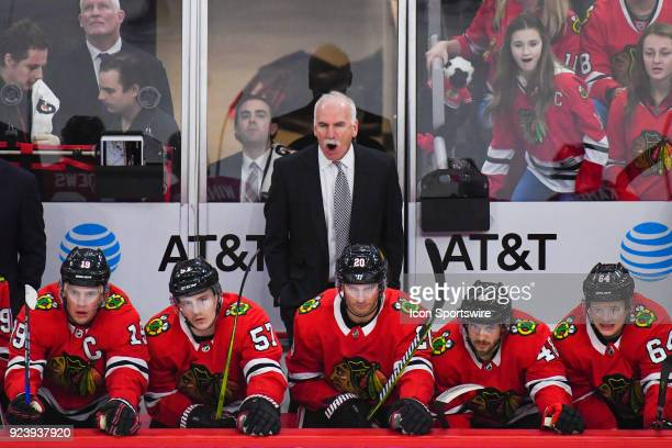 Chicago Blackhawks head coach Joel Quenneville yells from the bench during a game between the Chicago Blackhawks and the San Jose Sharks on February...