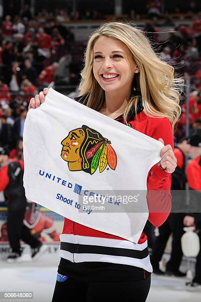 Chicago Blackhawks icecrew girl skates during the NHL game between the Chicago Blackhawks and the St Louis Blues at the United Center on January 24...