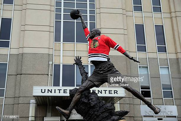 Chicago Blackhawks jersey is seen on the statue of former Chicago Bull and Basketball Hall of Famer Michael Jordan prior to the Blackhawks hosting...
