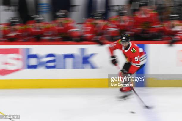 Chicago Blackhawks left wing Anthony Duclair controls the puck during a game between the Chicago Blackhawks and the San Jose Sharks on February 23 at...