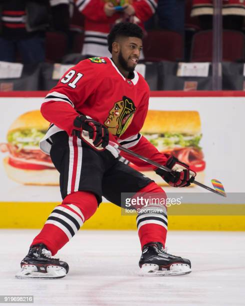 Chicago Blackhawks left wing Anthony Duclair warms up prior to a game between the Chicago Blackhawks and the Anaheim Ducks on February 15 at the...