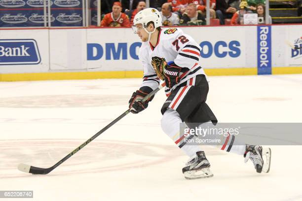 Chicago Blackhawks left wing Artemi Panarin races into the offensive zone during the NHL hockey game between the Chicago Blackhawks and Detroit Red...