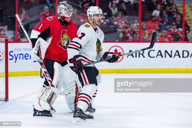 Chicago Blackhawks Left Wing Lance Bouma stands in front of Ottawa Senators Goalie Mike Condon during third period National Hockey League action...