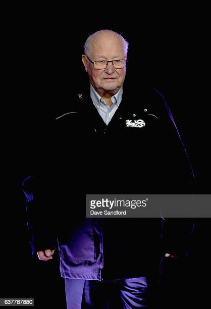 Chicago Blackhawks legend Glenn Hall walks out after being introduced as part of the Top 33 of 100 NHL players before the start of the 2017...