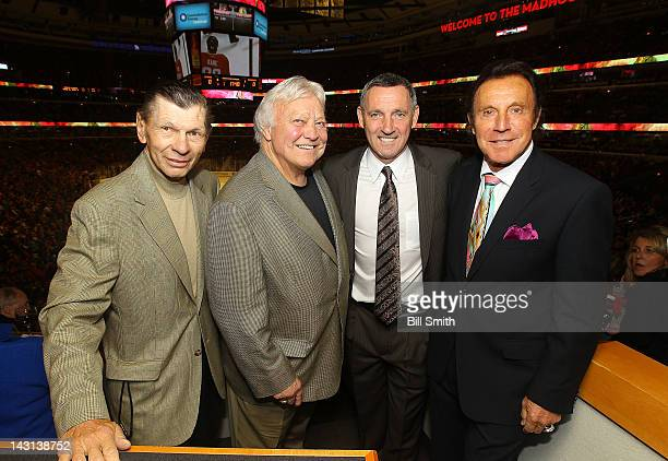 Chicago Blackhawks Legends Stan Mikita Bobby Hull Denis Savard and Tony Esposito pose for a photo during Game Four of the Western Conference...