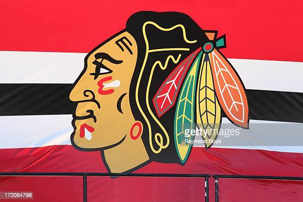 Chicago Blackhawks Logo, at the Chicago Blackhawks' 2013 Stanley Cup Championship rally at Hutchinson Field in Grant Park in Chicago, Illinois on...