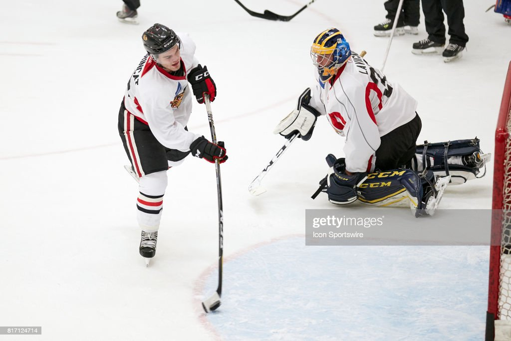 Chicago Blackhawks prospect Alex DeBrincat (23) participates during the Chicago Blachawks Development Camp on July 17, 2017 at Johnny's IceHouse in Chicago, Illinois.