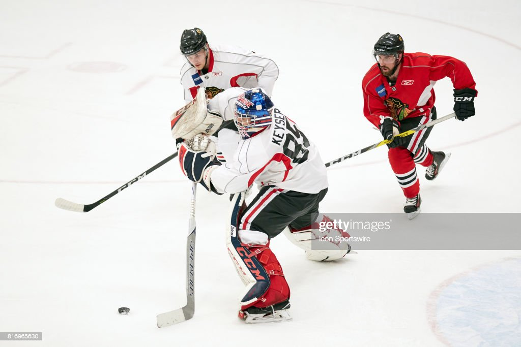 Chicago Blackhawks prospect Kyle Keyser (85) participates during the Chicago Blachawks Development Camp on July 17, 2017 at Johnny's IceHouse in Chicago, Illinois.