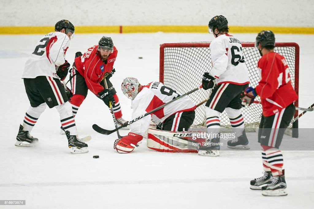 Chicago Blackhawks prospect Matt Tomkins (90) participates during the Chicago Blachawks Development Camp on July 17, 2017 at Johnny's IceHouse in Chicago, Illinois.