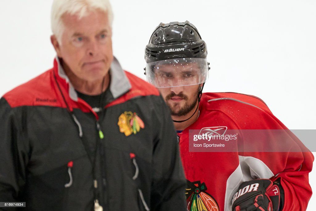Chicago Blackhawks prospect Vincent Praplan (57) participates during the Chicago Blachawks Development Camp on July 17, 2017 at Johnny's IceHouse in Chicago, Illinois.