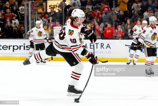 Chicago Blackhawks right wing John Hayden shoots before a game between the Boston Bruins and the Chicago Blackhawks on February 12 at TD Garden in...