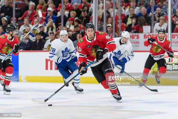 Chicago Blackhawks right wing John Hayden skates with the puck in the 3rd period during an NHL hockey game between the Toronto Maple Leafs and the...