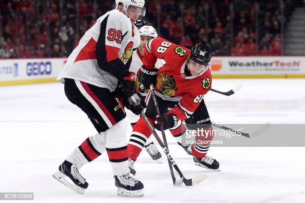 Chicago Blackhawks right wing Patrick Kane battles with Ottawa Senators center Matt Duchene in overtime play during a game between the Chicago...