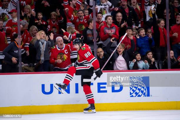 Chicago Blackhawks right wing Patrick Kane celebrates his goal during a game between the Washington Capitals and the Chicago Blackhawks on January 20...