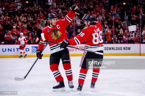 Chicago Blackhawks right wing Patrick Kane celebrates his goal with center Jonathan Toews during a game between the Detroit Red Wings and the Chicago...