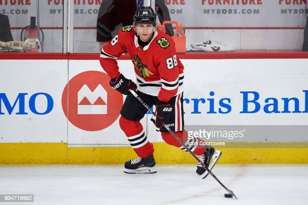 Chicago Blackhawks right wing Patrick Kane handles the puck during the game between the Chicago Blackhawks and the St Louis Blues on March 18 at the...