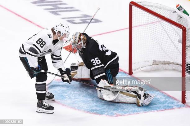 Chicago Blackhawks right wing Patrick Kane has a shot on Anaheim Ducks goaltender John Gibson during the NHL AllStar Game at SAP Center on January 26...