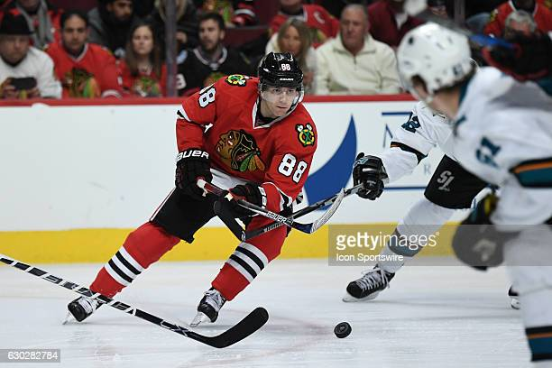 Chicago Blackhawks right wing Patrick Kane in action in the third period during a game between the San Jose Sharks and the Chicago Blackhawks on...