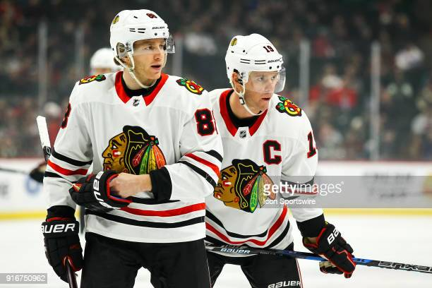 Chicago Blackhawks right wing Patrick Kane left and center Jonathan Toews before the faceoff in the 1st period during the Central Division game...