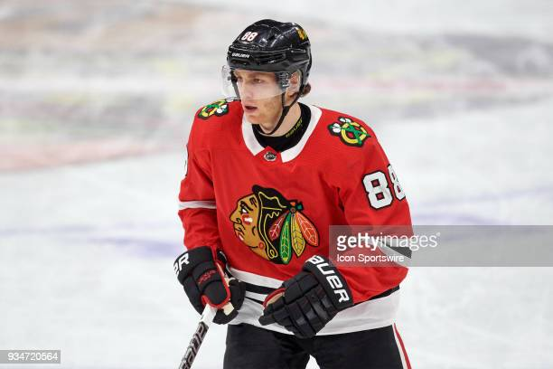 Chicago Blackhawks right wing Patrick Kane looks on during the game between the Chicago Blackhawks and the St Louis Blues on March 18 at the United...