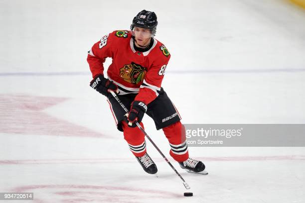 Chicago Blackhawks right wing Patrick Kane skates with the puck during the game between the Chicago Blackhawks and the St Louis Blues on March 18 at...