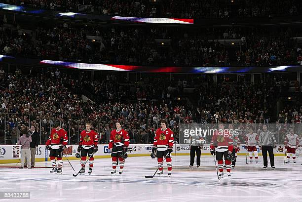 Chicago Blackhawks starting line up during National Anthem before game against the Detroit Red Wings on October 25 2008 at the United Center in...