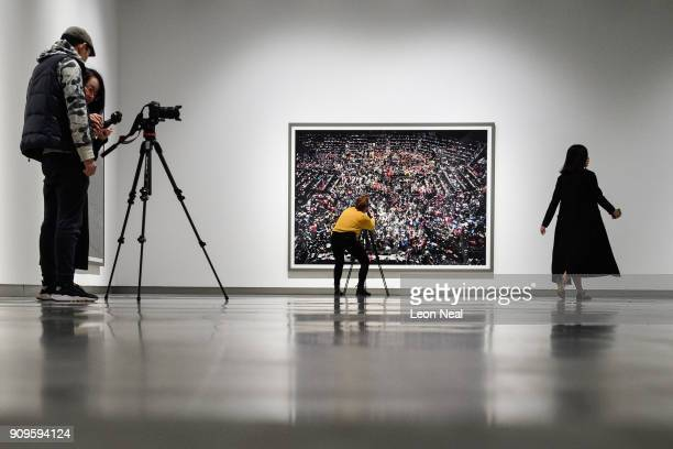 Chicago Board of Trade III by Andreas Gursky is seen as members of the media explore the reopened Hayward Gallery on January 24 2018 in London...