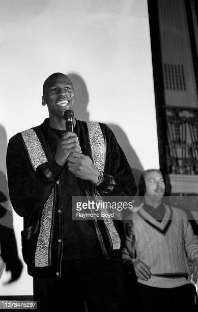 Chicago Bulls basketball player Michael Jordan addresses the crowd during his birthday celebration at the Palmer House hotel in Chicago, Illinois in...