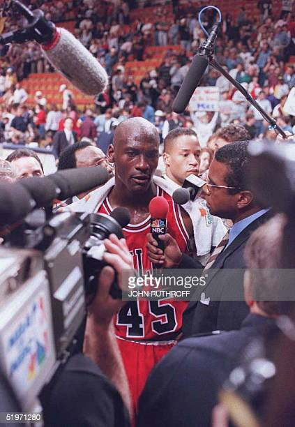 Chicago Bulls basketball star Michael Jordan talks to the media 19 March at Market Square Arena in Indianapolis Indiana Jordan was unable to lead the...