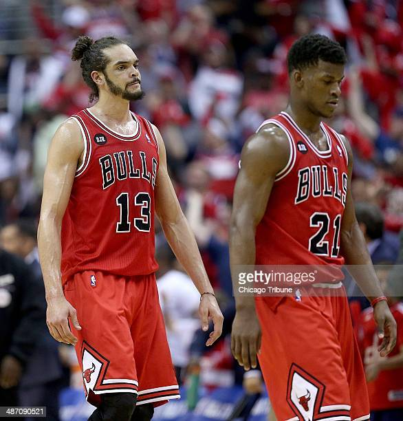 Chicago Bulls center Joakim Noah and guard Jimmy Butler leave the court for halftime in game against the Washington Wizards in their first round...