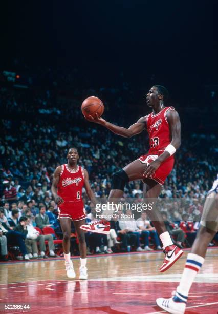 Chicago Bulls' center Michael Jordan drives to the basket for layup during a 1984 NBA game