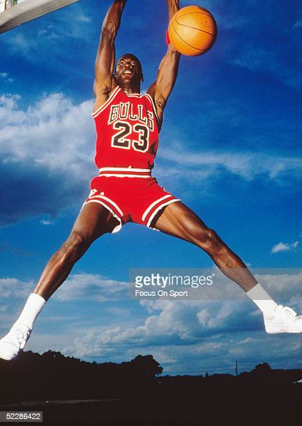 Chicago Bulls' center Michael Jordan for an action portrait circa 1980's