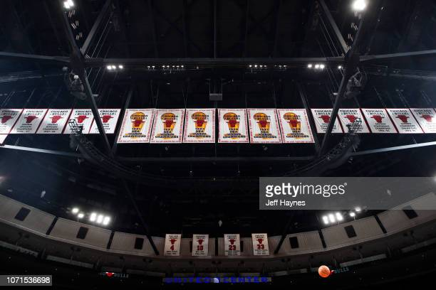 Chicago Bulls championship banners seen in the rafters before the game against the Sacramento Kings on December 10 2018 at United Center in Chicago...