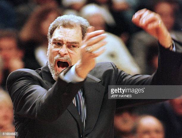 Chicago Bulls coach Phil Jackson of the Chicago Bulls yells at the referees during Chicago's game against the Miami Heat 22 May in the NBA Eastern...