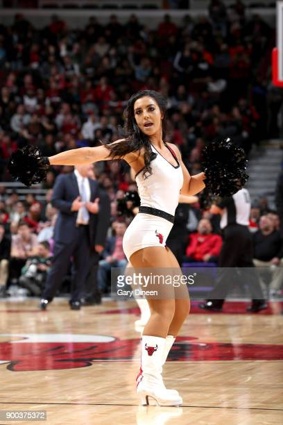 Chicago Bulls dancers perform during the game against the Portland Trail Blazers on January 1 2018 at the United Center in Chicago Illinois NOTE TO...